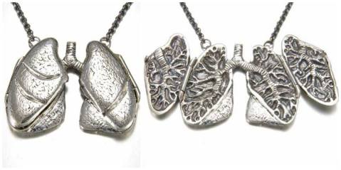 anatomically correct lung locket necklace