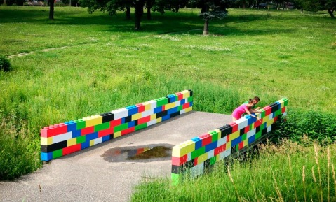 lego bricks bridge mini