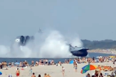 Russian-Navy-Hovercraft-Lands-On-Busy-Beach-2204412