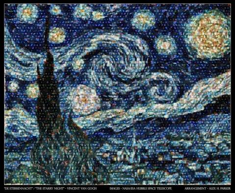 starrynight vangogh mosaic hubble